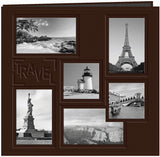 Pioneer Embossed Collage Frame Post Bound Album Brown Travel 12inx12in