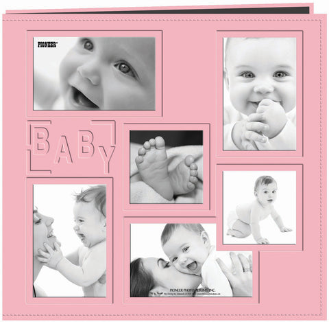 Pioneer Embossed Collage Frame Post Bound Album Pink Baby 12inx12in