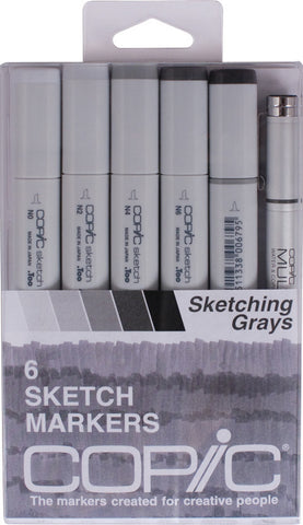 Copic Sketch Marker + MultiLiner Pen Sketching Grays