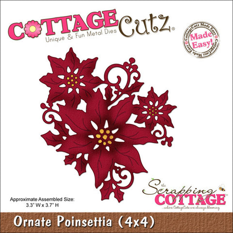CottageCutz Die Ornate Poinsettia Made Easy 4inx4in