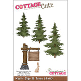 CottageCutz Die Rustic Sign and Trees 4inx6in
