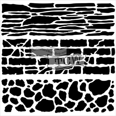 The Crafter's Workshop Template Rock Wall 6inx6in