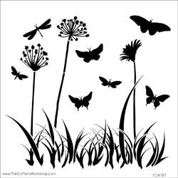 The Crafter's Workshop Template Butterfly Meadow 12inx12in
