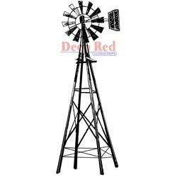 Deep Red Stamp Farmers Windmill 1.25inx3in