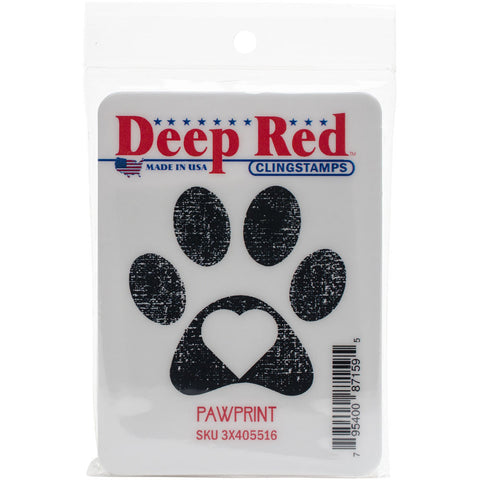 Deep Red Cling Stamp Pawprint 2inx2in