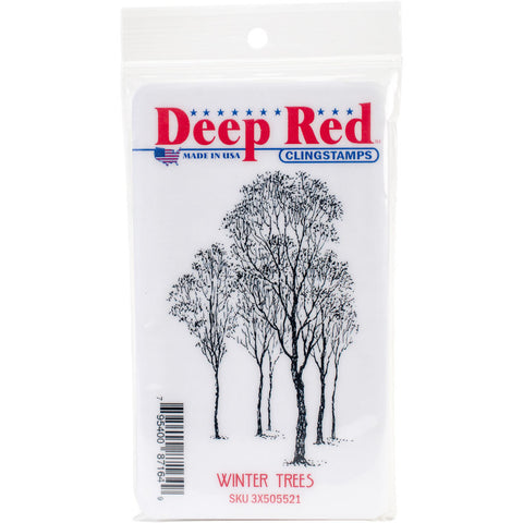 Deep Red Cling Stamp Winter Trees 2inx3in