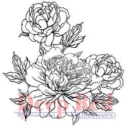 Deep Red Cling Stamp Carnation Blooms