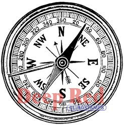 Deep Red Stamp Compass