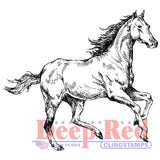 Deep Red Cling Stamp Spirited Horse