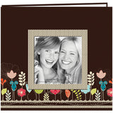 Designer Printed Raised Frame Post Bound Album Garden 8inx8in