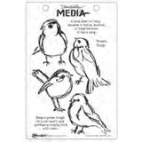 Dina Wakley Media Cling Stamps - Scribbly Birds