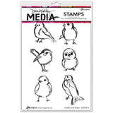 Dina Wakley Media Cling Stamps - Scribbly Small Birdies