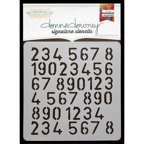 Donna Downey Signature Stencils Numbers Repeat 8.5inx8.5in