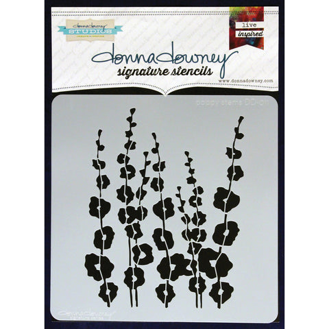 Donna Downey Signature Stencils Poppy Stems 8.5inx8.5in
