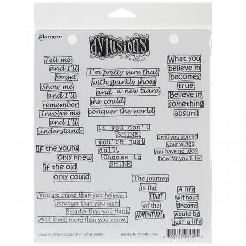 Dylusions by Dyan Reaveley Cling Stamps Quintessential Quotes