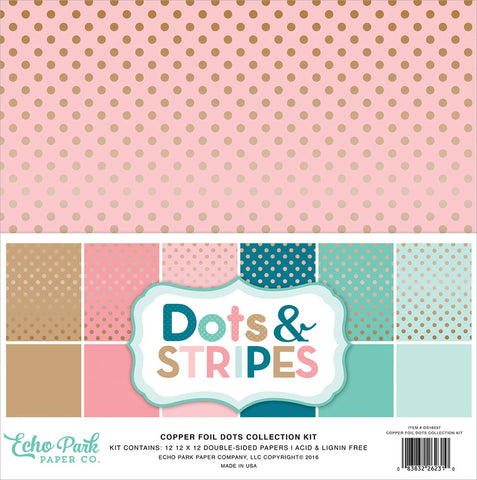 Echo Park Collection Kit Dots and Stripes with Copper Foil 12inX12in