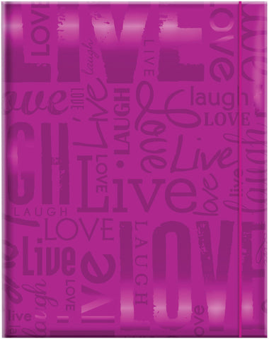 Embossed Gloss Expressions Photo Album Live Love Laugh Bright Purple 4.75inx6.5in