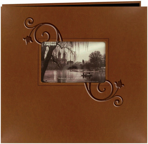 Embossed Leatherette Postbound Album with Window Brown with Floral 12inx12in