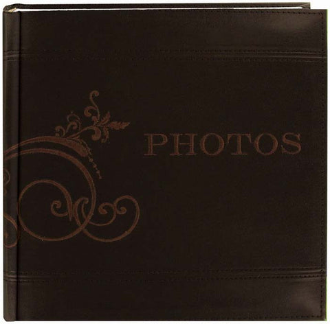 Embroidered Scroll Leatherette Photo Brown 8inx8in