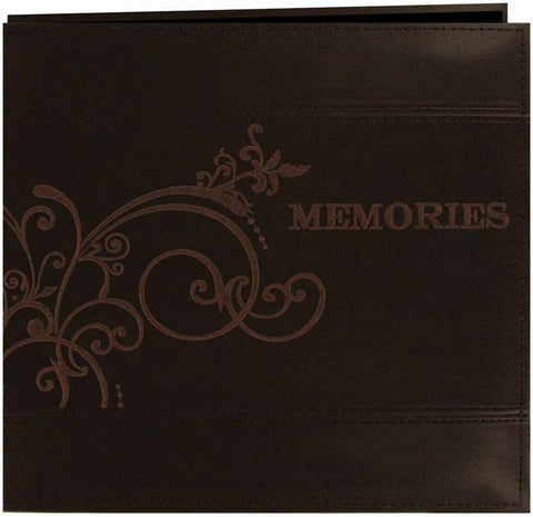 Pioneer Embroidered Scroll Leatherette Post Bound Album Brown 12inx12in