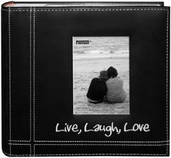 Embroidered Stitched Leatherette Photo Album Live Laugh Love 9inx9in