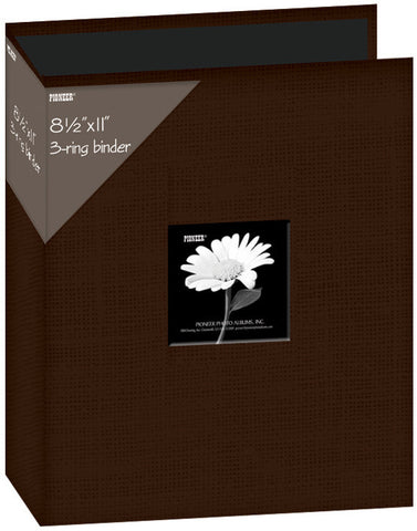 Fabric D-Ring Binder Album with Window Brown 8.5inx11in