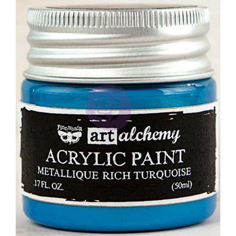 Finnabair Art Alchemy Acrylic Paint Metallique Light Blue
