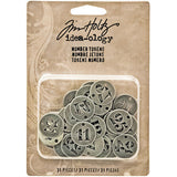Tim Holtz IdeaOlogy Metal Number Tokens Antique Silver