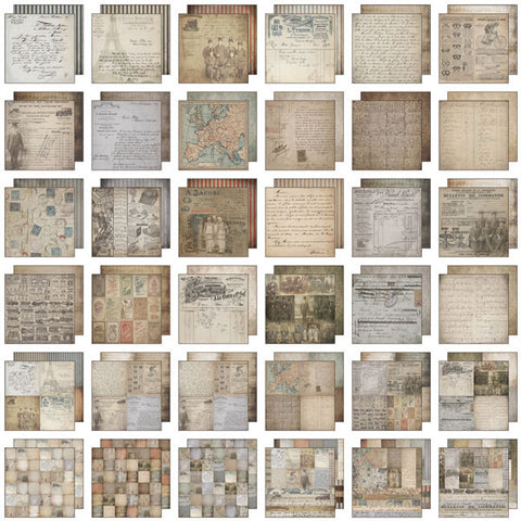 Tim Holtz IdeaOlogy Paper Stash Paper Pad French Industrial 12inx12in