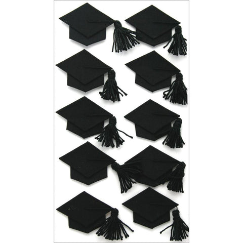 Jolee's Boutique Dimensional Stickers Black Graduation Caps