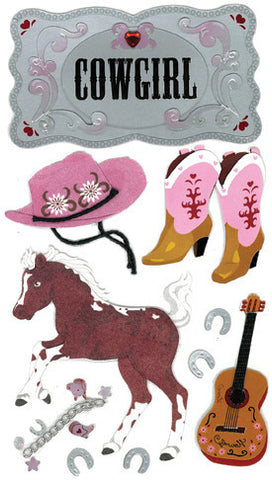 Jolee's Boutique Le Grande Dimensional Sticker - Cowgirl