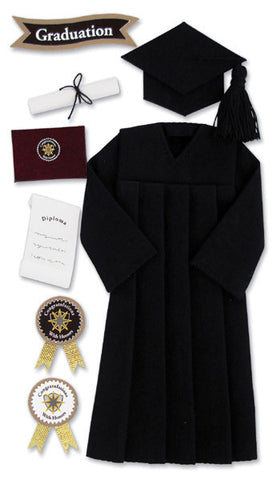 Jolee's Boutique Dimensional Stickers Graduation Cap and Gown Black