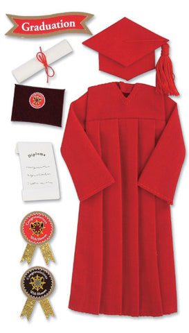 Jolee's Boutique Dimensional Stickers Graduation Cap and Gown Red