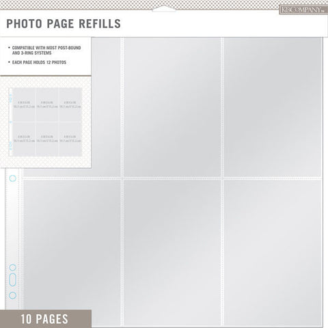 KandCompany Photo Page Refills 12inx12in 10pk 6 4inx6in Pockets