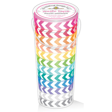 Doodlebug Kraft In Color Washi Tape In Tube Container Chevron