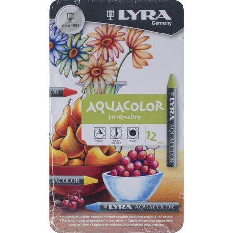 Lyra Aquacolor Watersoluble Crayons - 12/Pkg