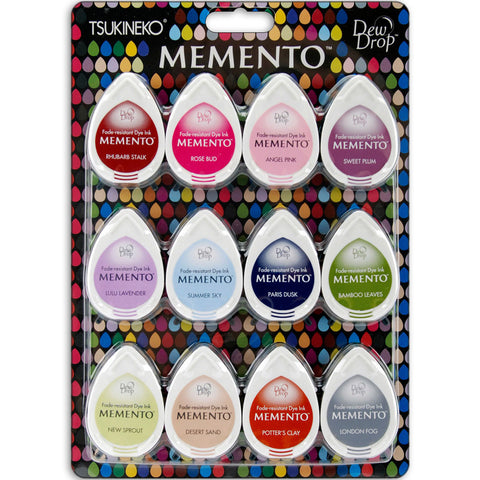 Tsukineko Memento Dew Drop Dye Ink Pads Set Sorbet Scoops 12pk