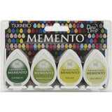 Tsukineko Memento Dew Drop Dye Ink Pad Set Greenhouse 4pk