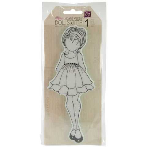 Julie Nutting Doll Cling Stamp Doll with Ruffle Dress