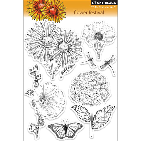 Penny Black Clear Stamps Flower Festival
