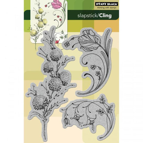 Penny Black Cling Rubber Stamp Delicate Florals 5inx7.5in