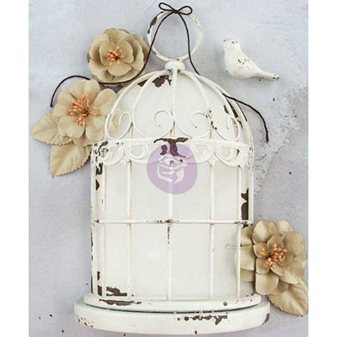 Prima Marketing Frameworks Metal Birdcage Antique White 7.8inx5.5inx2.75in