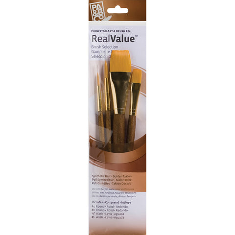 Real Value Brush Set Synthetic Gold Taklon 4pk