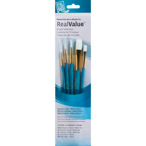 Real Value Brush Set Synthetic White Taklon 5pk
