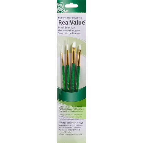 Real Value Brush Set White Taklon Round 3/0 3 Shader 4 Angle 1/4