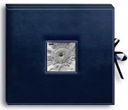 Sewn Leatherette D-Ring Scrapbook Box Navy Blue 13inx14.5in
