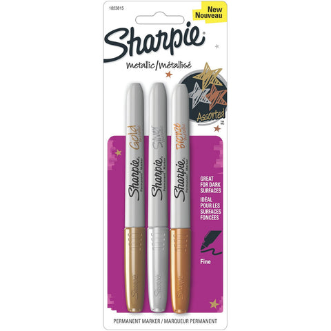 Sharpie Metallic Permanent Markers Gold Silver Bronze 3pk