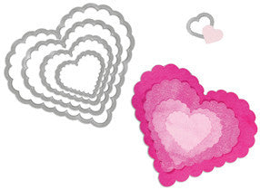 Sizzix Framelits Dies Scallop Hearts