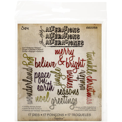 Sizzix Thinlits Dies By Tim Holtz Script Holiday Words