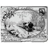 Stampendous Christmas Cling Rubber Stamp Train Postcard